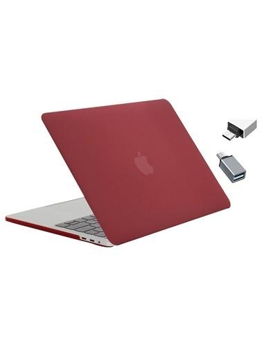 """Mcstorey Yeni MacBook Pro Touchbarlı A1706 A1708 A1989 A2159 13.3"""" Kılıf Kapak Hard case Mat Bordo"""